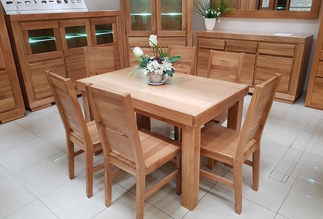 zestaw stol i krzesla dębowe