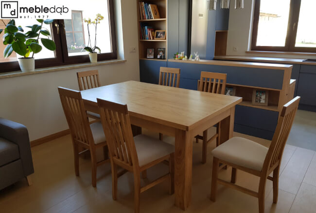 stół dębowy do nowoczesnej kuchni