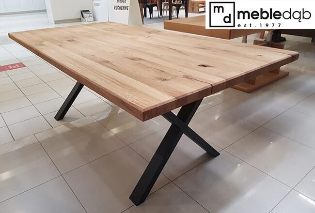 stół loftowy z dębowym blatem