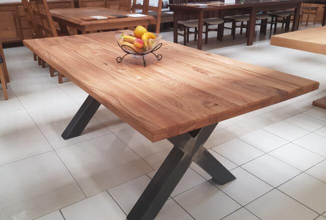 lity stół dębowy, styl loftowy, metalowe nogi