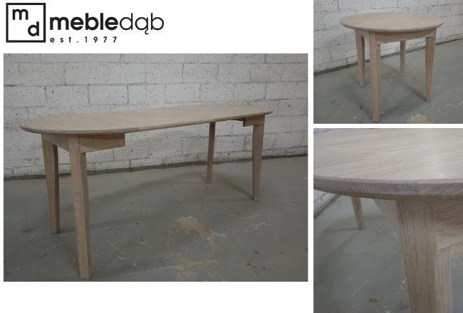 Okrągły rozkładany stolik o średnicy 80 cm według projektu klienta.